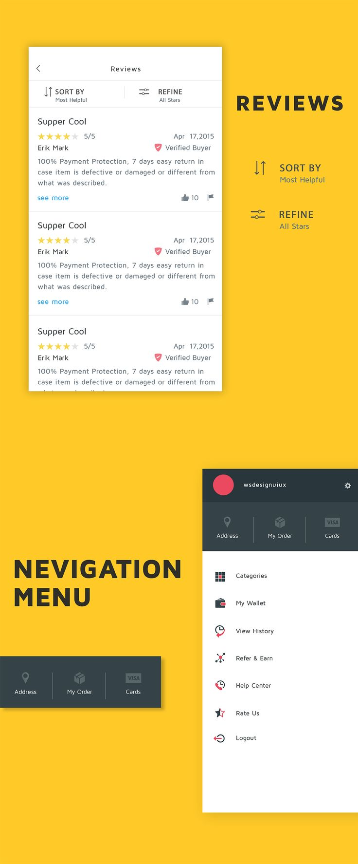 """Ecommerce Reviews and ratings UI Screen , supported in android and photoshop. Download today from Code canyon """"Shoppy Ecommerce"""""""