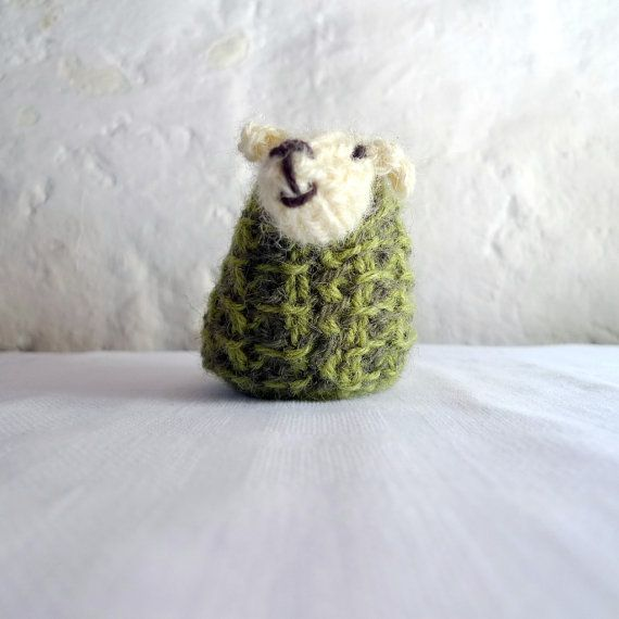 Miniature sheep hand knit with natural white and by FormerlyFleece