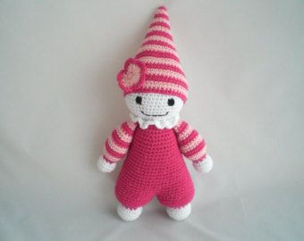 A super cute crochet Amigurumi baby doll / plushy soft toy, to be loved and cuddled by your little one. This toy is a new design and comes in a larger size than my other super soft baby dolls. Its body is still lightly stuffed, making it ultra soft and cuddly and minus the pointy hat. It now has a modern square hat and is also made with two strands of DK yarn making it very robust and durable and able to with stand lots of rough love. Suitable for children of all ages. The dolly is appro...