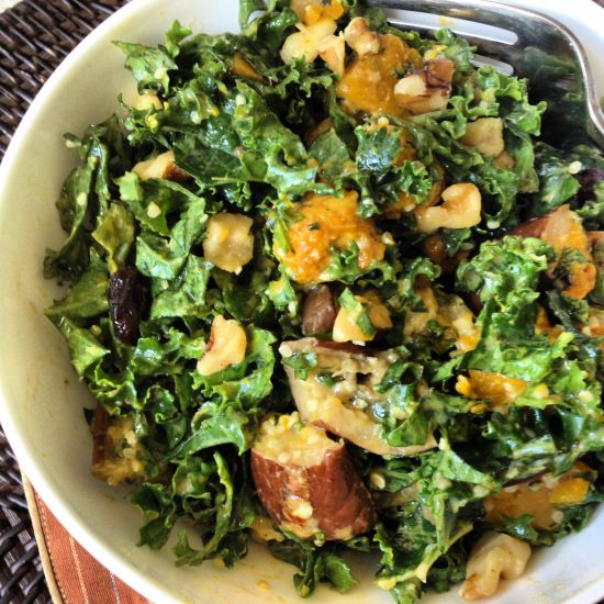 Fall Kale Salad with Roasted Squash, Cherries, and Walnuts ...