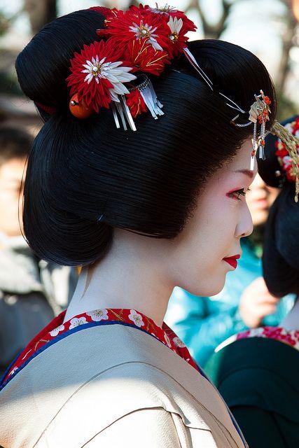 Maiko and Geiko outside of Kyoto — geisha-kai: a hangyoku of Asakusa January...