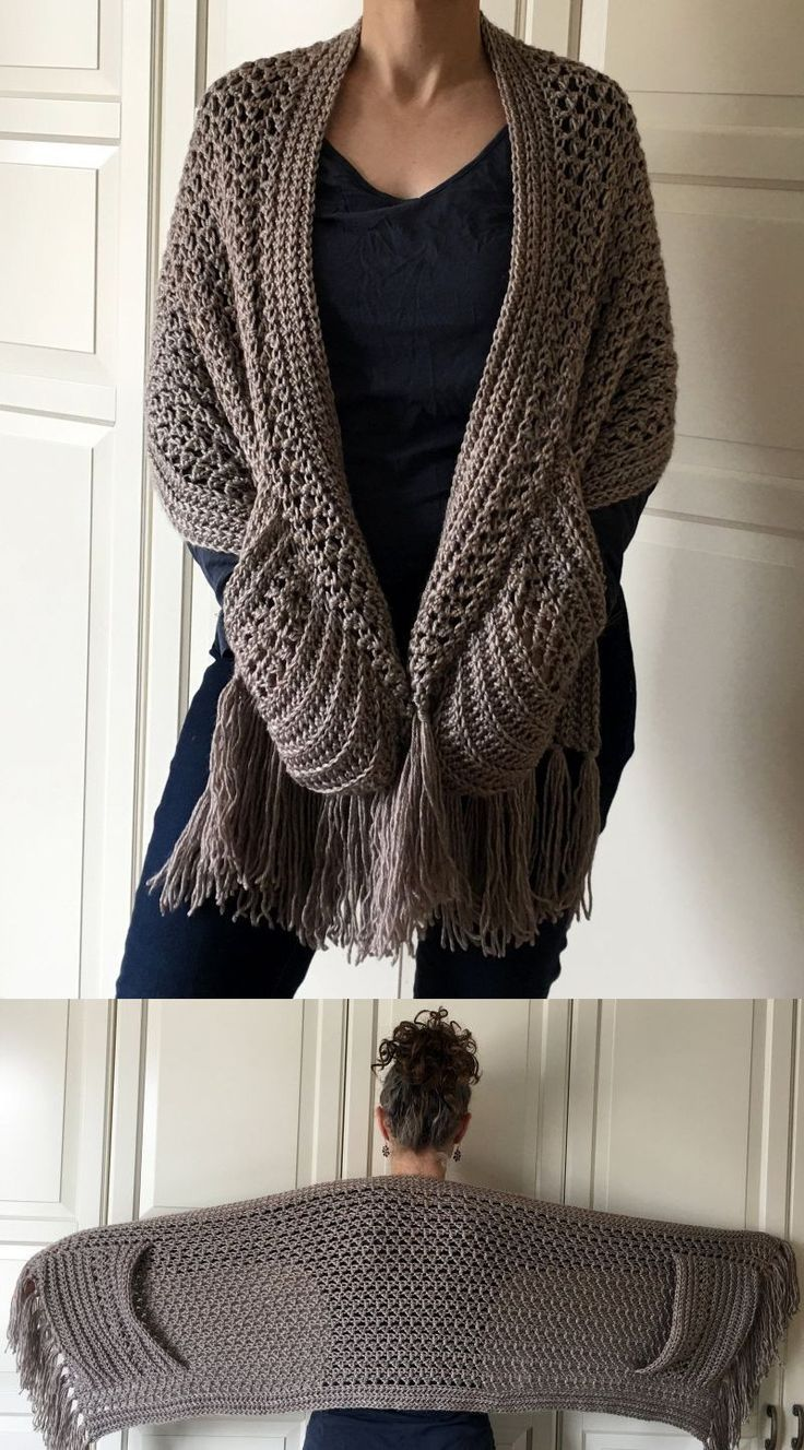 """Perfect Pockets Shawl, pattern $6.00 by Sandra Hood. Width18.5"""" Length: 56"""" (with fringe 70""""). Shown in Lion Brand Heartland worsted weight yarn 900-1000 yds, hook size M/N.  #crochet #wrap"""