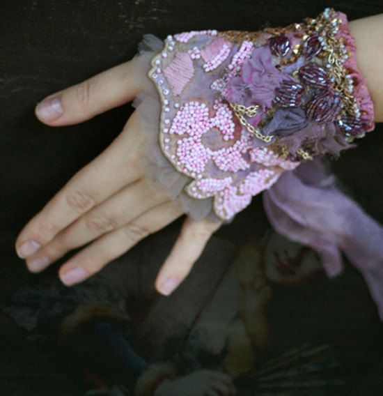 1700, romantic bold wrist wrap gauntlet from vintage and antique textiles, hand beading,shabby chic