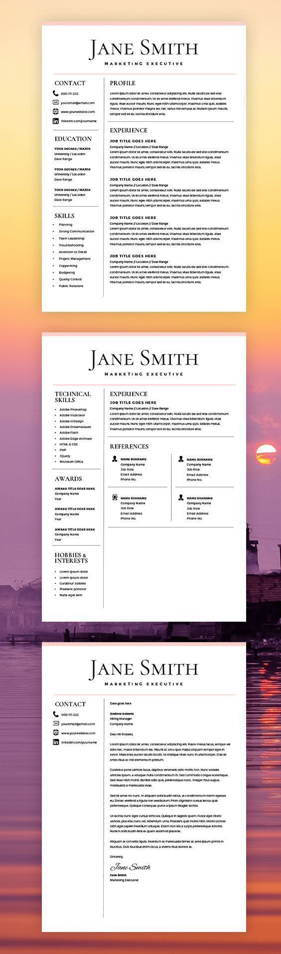 receptionist sample resume%0A Resume Template  CV Template  Free Cover Letter  MS Word on Mac   PC