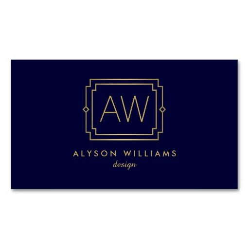 Your initials become an elegant monogram on this art deco themed business card template. The simple lettering and design is professional and timeless. Set in a faux gold on dark navy blue for an elegant feel. © 1201AM CREATIVE