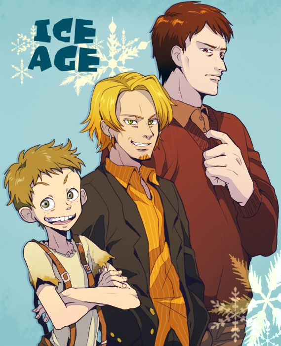 Ice Age humanised - from left: Sid, Diego, Manny