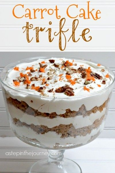 Delicious Carrot Cake Trifle with AMAZING cream cheese whipped cream! Perfect dessert for Easter & Spring!