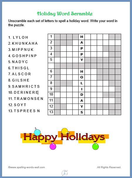 New Holiday Word Scramble