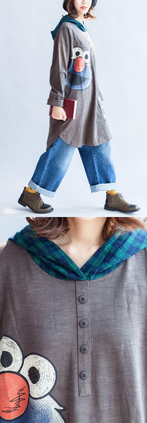 stylish-big-bird-prints-gray-casual-knit-cotton-tops-plus-size-grid-hooded-t-shirt