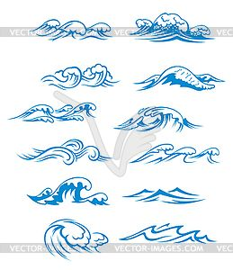 ocean waves clipart | Ocean waves set - vector clip art