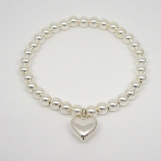 Sterling Silver Heart Bead Bracelet- gift, girls, ladies, christmas, pretty £37.00