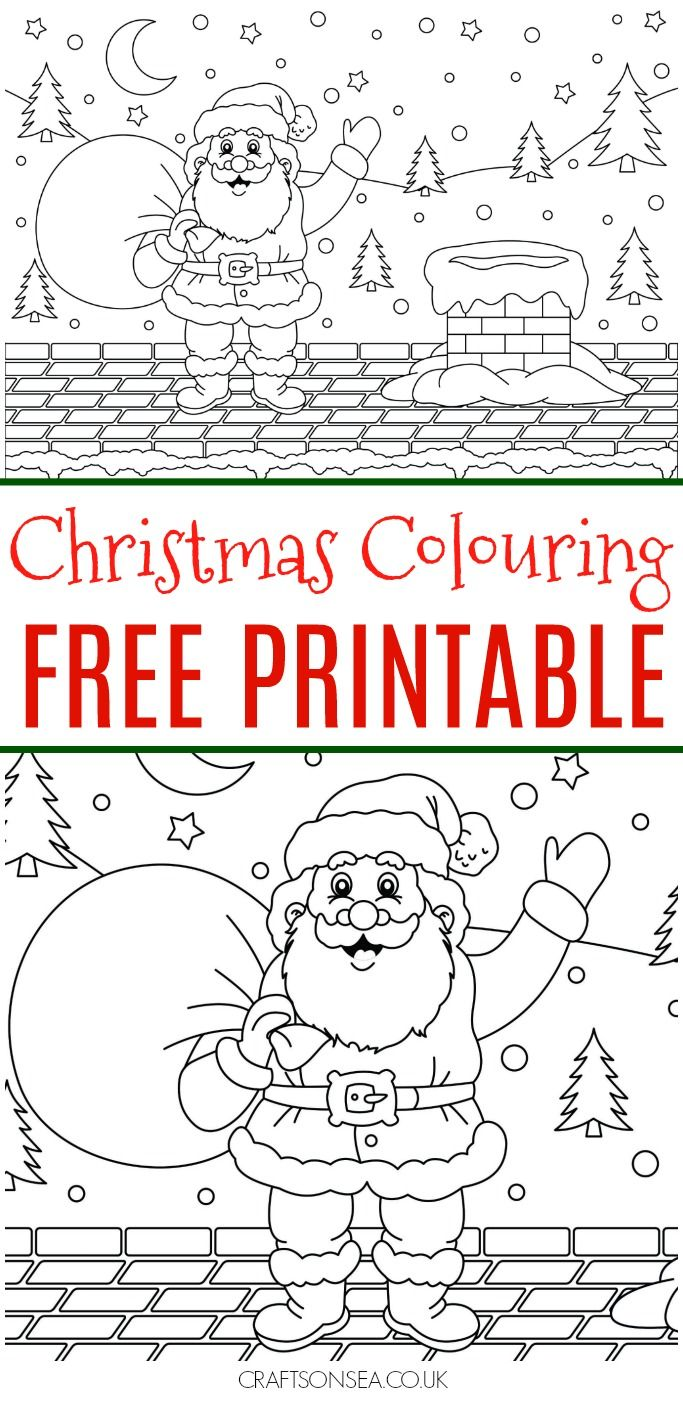 This Santa is just too cute! Grab this free Christmas colouring page now and enjoy some chilled out festive fun with the kids #colouring #christmas #colouring pages
