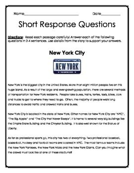 Worksheets Read The Passage new york english language and comprehension on pinterest 2 passages 3 questions each directions read passage carefully answer of the following in sentences use details from th