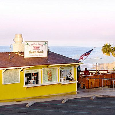 Indulging in an icy treat  For generations it was the Date Shack. Then it became Crystal Cove Ruby's Shake Shack. But the Newport Coast institution Ruby's Shake Shack is as good as ever, with 20-plus shakes and malts. 7703 E. Coast Hwy.; rubys.com