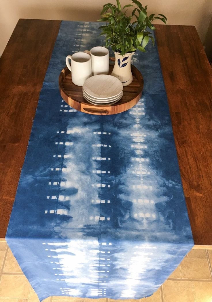 Hand Dyed Indigo Shibori 100 Cotton Square Dot Linear Pattern Table Runner With Rustic Raw Edge Rustic Wedding Table Cover And Boho Decor 2019 Cotton Diy Hand Dyed Indigo