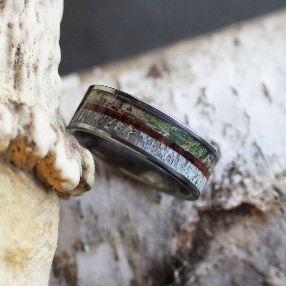 Camo Wedding Band With A Kingwood Pinstripe, Deer Antler Ring With Tungsten Carbide, Wooden Wedding Band