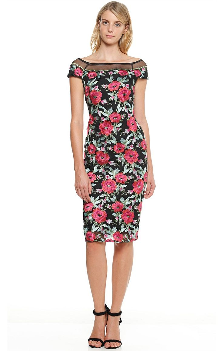 PINK ROSE EMBROIDERED MESH WIDE NECK CAP SLEEVE DRESS IN FLORAL PRINT