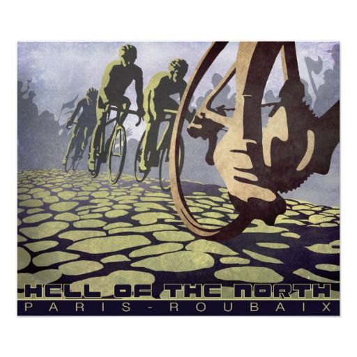 HELL OF THE NORTH: Paris Roubaix retro cycling art Print