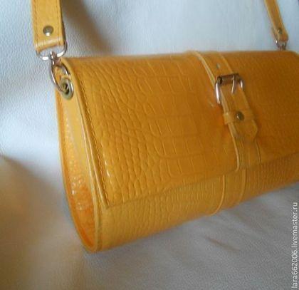 """Кожаная сумка клатч """"Солнечная ИТАЛИЯ"""" - желтый кроко - жёлтый,однотонный"""