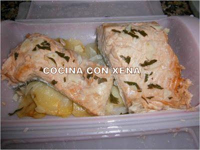 COCINA CON XENA: Salmón con patatas al vapor, en baúl Lékué en Micr...