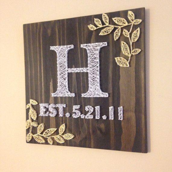 "Square 18""x18""  Leaf Monogram String Art, Made to Order"