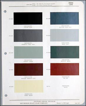 Color Chart For Paint For 1949 Ford Pickup 1949 Ford