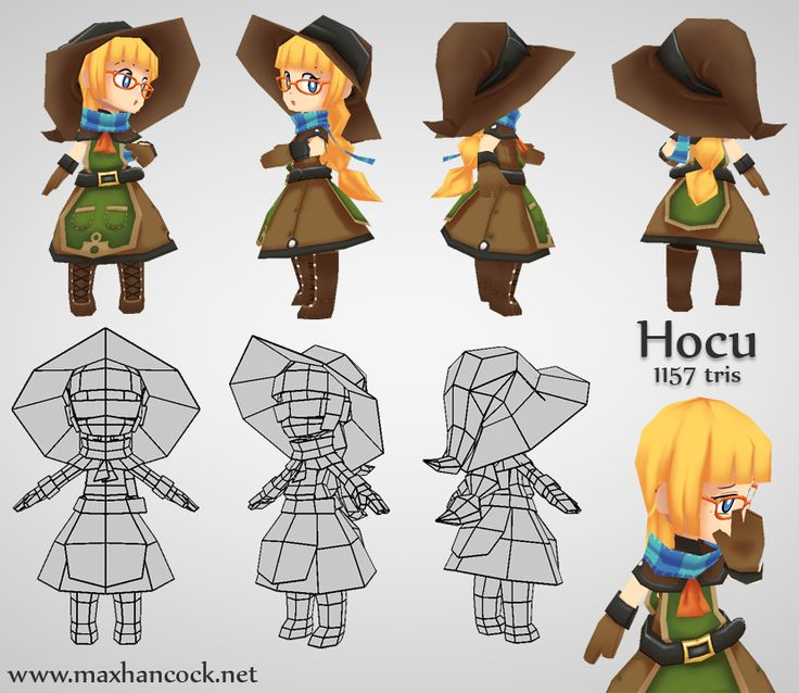 Hocu - 3D low poly character by kouotsu