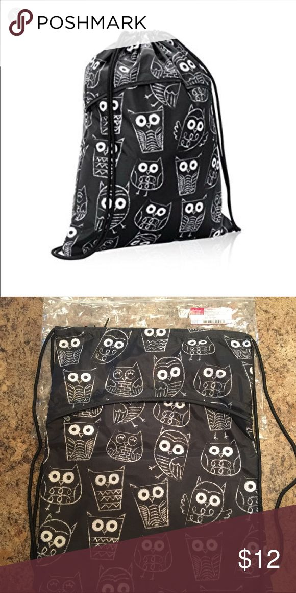 """Thirty One Owl cinch sac Brand new, in package!  Adorable """"Its Owl Good"""" cinch sac. Retired print!! So versatile!  Open main pocket and hidden, zippered outside pocket. Perfect for any age! Thirty One Bags"""