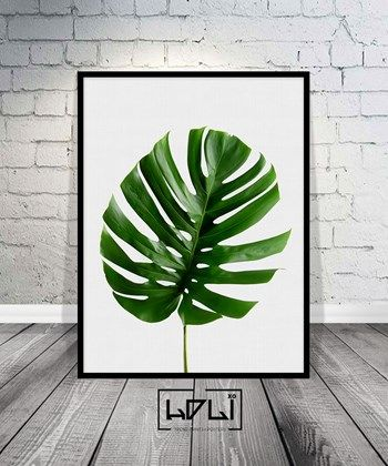 Monstera Leaf Print, Leaf Art, Tropical Wall Art, Tropical Printable, Large Wall Print, Home Decor. Instant Download Wall Decor from HOLIxoPRINT at www.printablez.ca