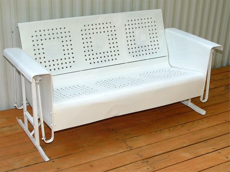 You and the kids will all have room on this Authentic Three Seat Metal Glider! Vintage Metal Three Seat Glider in the Basketweave with Box Pattern. This is an Original Old Porch Glider from about the 1950s. We have Vintage Patio Chairs and Porch  Rockers also.CONDITION: Used, with dents and repairs. Freshly Sandblasted and Paint...