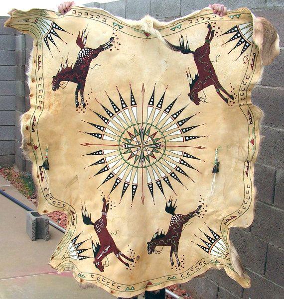 Vintage Native American Hide Painting / Plains Indian Hand Painted Hide / Tanned Mule Deer Hide with Hair / Plains Indian Robe
