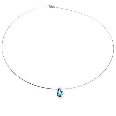 Minimalist 14k White Gold Topaz Slide Necklace