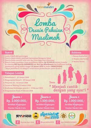 #SyariahFest #Lomba #Desain #Busana #Muslimah Syariah Fest 2016 Lomba Desain Pakaian Muslimah  DEADLINE: 25 Januari 2016  http://infosayembara.com/info-lomba.php?judul=syariah-fest-2016-lomba-desain-pakaian-muslimah