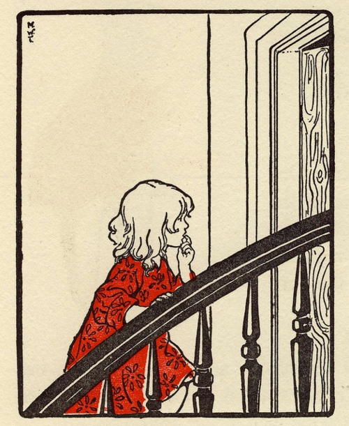 Girl in a staircase. Illustrator unknown.