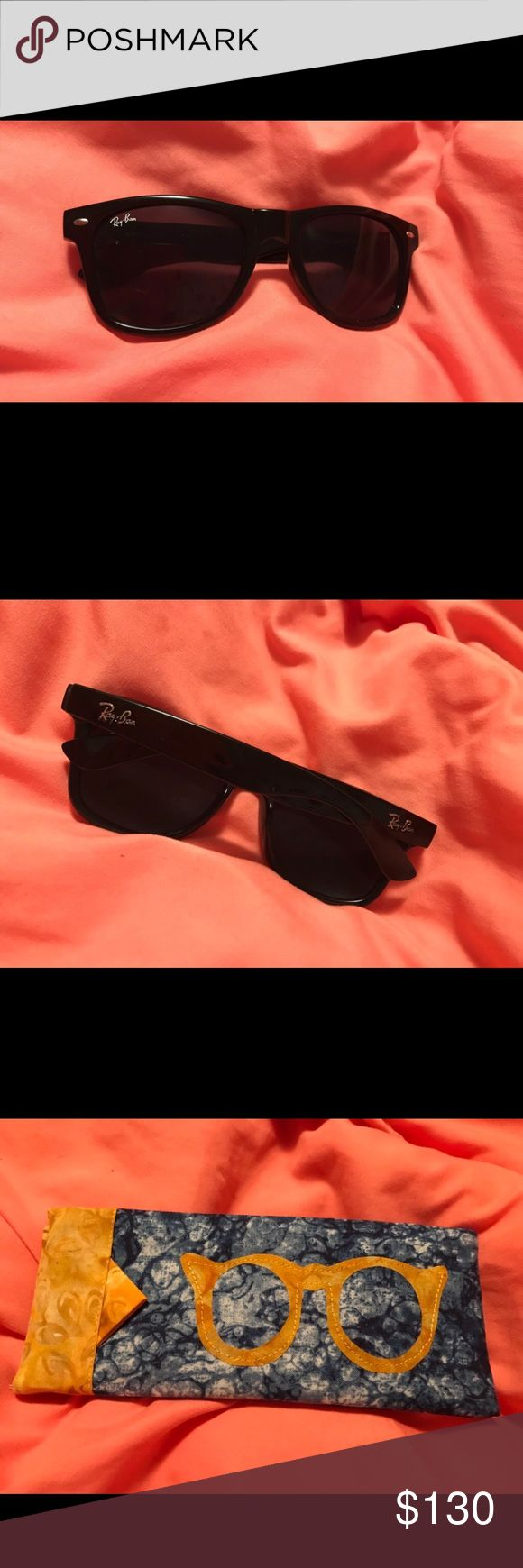 Black lens ray-ban wayfarer sunglasses w/ frame Worn once, dont like the frame on my face. Comes with custom case. Price listed or BEST OFFER. Like new. Ray-Ban Accessories Sunglasses