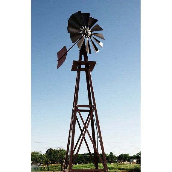 Decorative Bronze Powder Coated Metal Backyard Windmill | From Hayneedle.com