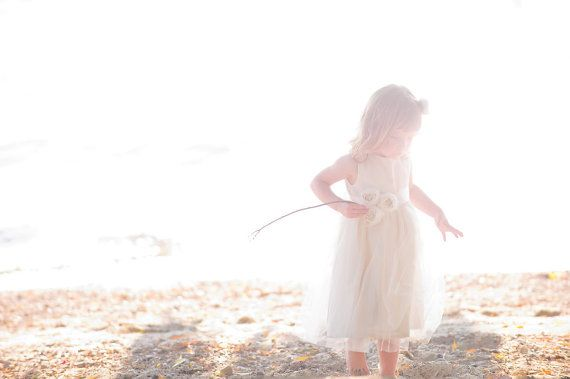 Grace .. Flower Girl Dress ... natural  USA Organic cotton...2T-5 on Etsy, $99.00