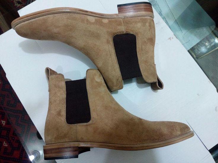 Handmade men Beige Chelsea boots, suede leather boot for men, mens chelsea boot #Handmade #Chelsea