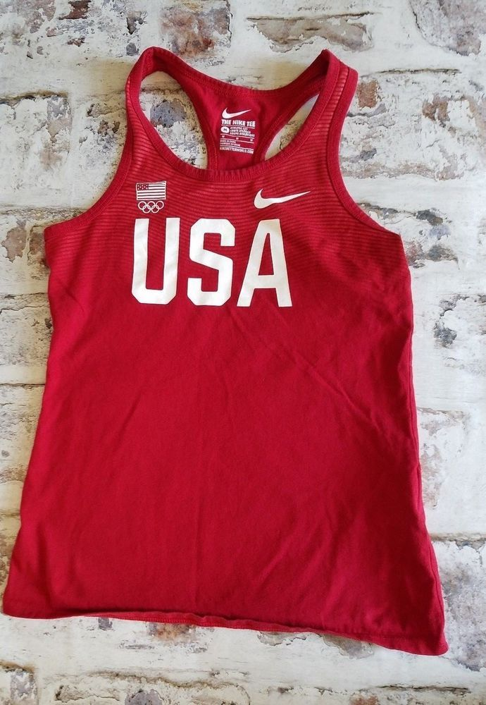 Red NIKE Olympic Team USA United States Womens M Track Field Tank Top Shirt   Nike  TankTop bfec1715b2