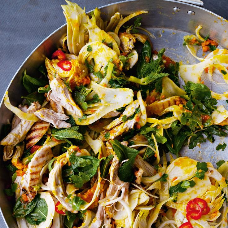 Saffron chicken and herb salad - used fennel, if making again, slice fennel VERY thin and only use one and mix with other salad greens. Also, make sure to adjust sauce with honey and salt as it was a bit bitter.