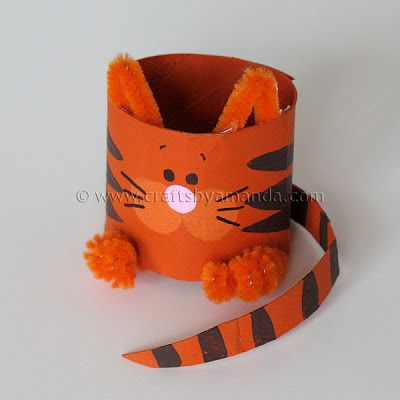 DIY Children's Craft - Toilet Paper Roll Cat Tutorial, knutselen, kinderen, basisschool, recycle, wc-rol, kat, tijger