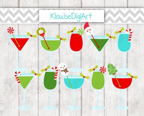 Christmas Festive Cocktails Digital Clipart by KlouiseDigiArt
