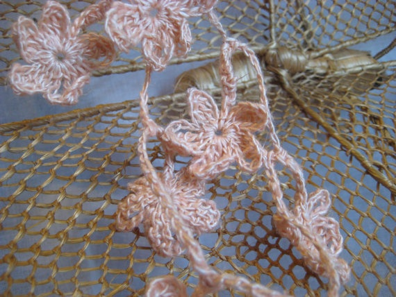 Crochet Hair Garland : Crochet Peach Flower Garland Lariat Hair by GMaEllenCrochetGifts
