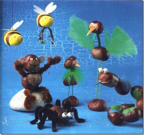 manualidades con castañas: hormigas, arañas, abejas, animales hechos con castañas, manualidades animales hechos con castañas