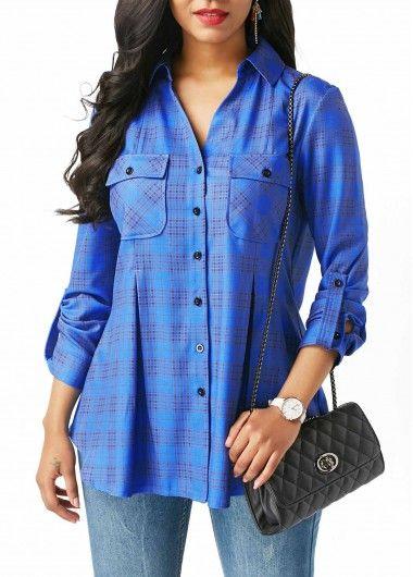 V Neck Blue Plaid Roll Tab Sleeve Shirt on sale only US$31.58 now, buy cheap V Neck Blue Plaid Roll Tab Sleeve Shirt at liligal.com