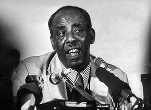On 15 October 1969, President Shermarke was assassinated by a member of his own police force. Mohamed Siad Barre, pictured, seized power in the subsequent coup, and in 1970 declared Somalia a socialist state, strengthening ties with the Soviet Union and subjecting the country to his ideology of 'scientific socialism' Photograph: AFP.
