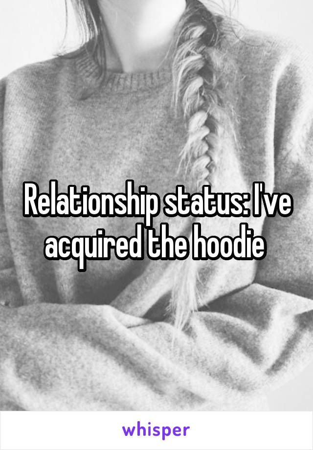 Relationship status: I've acquired the hoodie