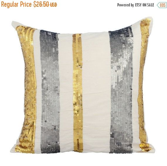 15% YEAR END SALE Bling String - Ivory silk throw pillow cover with silver & gold beading. Bling up your couch or bed! Check it out!