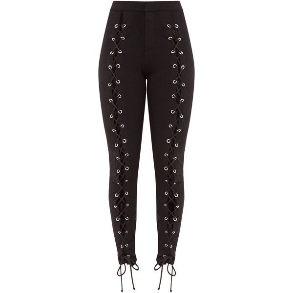 Lynda Black Front Lace Up Skinny Trousers ($44) ❤ liked on Polyvore featuring pants, skinny pants, lace up trousers, skinny trousers and lace up pants
