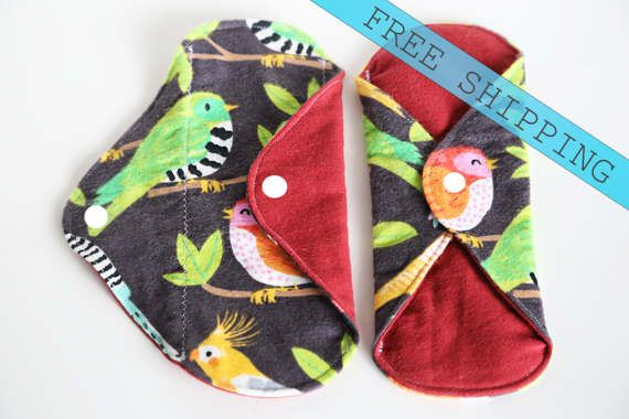 set of 2 Reusable Cloth Pads 6 Cloth Panty Liners by MamaMelonCA